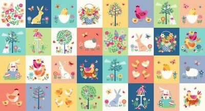 100% Cotton Fabric, Panel, Makower, Spring, Easter, Patchwork, Chickens for sale  York
