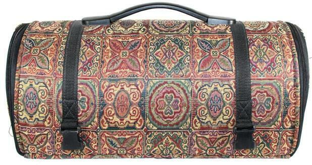Unmarked Tapestry Carpetbag Style Craft Tote Carrier Case Storage Bag Zippered