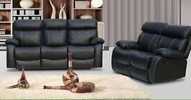 BRAND NEW Leather Recliner Sofa Suite Set Milano Black