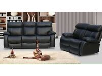 ***MILANO BLACK NEW RECLINER LEATHER SOFAS FREE DELIVERY***