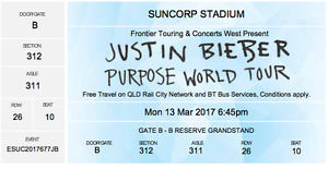 Justin Bieber tickets. Burleigh Heads Gold Coast South Preview