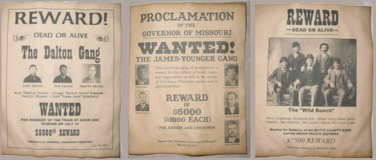 3 Old West Wanted Posters Outlaw Gangs, Wild Bunch, James Gang, Dalton, Jesse