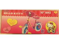 "Hello Kitty Kids/ Girls 10""inch Bike + stabiliser (Pink brand new in box)"