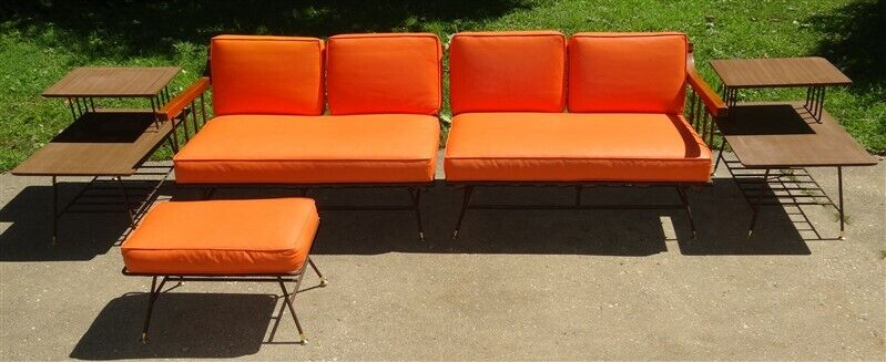 1950s Mid Century Richard McCarthy Selrite Wrought Iron 2 Pc Sectional+Tables++