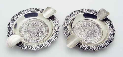 Plat-Mex-S.A. Mexico Set of 2 Mayan Calendar 70MM Ash Trays in Sterling Silver
