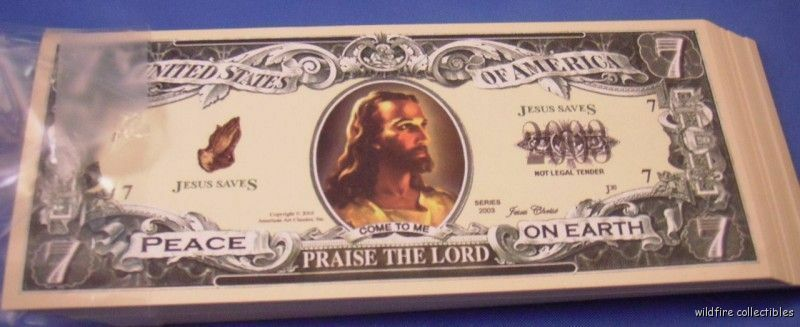 WHOLESALE LOT 100 JESUS CHRIST CHRISTIAN MONEY DOLLAR US BILL GOD SAVE PSALM 23