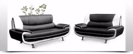 **BLACK/RED OR BLACK/WHITE** BRAND NEW CAROL SOFA--LEATHER 3 AND 2 SEATER SOFA -- CAROL SOFA SET
