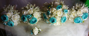 5 Piece Teal/Turquoise & White Wedding Bouquet Flower Package. London Ontario image 2