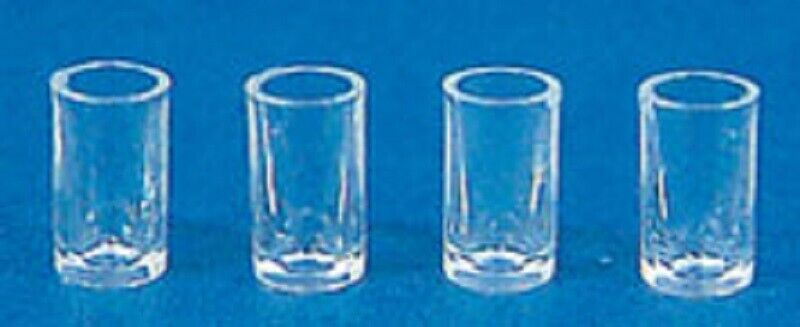 Dollhouse Miniature Chrysnbon Set of 4 Clear Glasses
