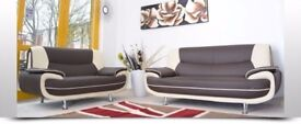 SAME DAY DELIVERY - NEW CAROL 3 AND 2 SEATER SOFA IN FAUX LEATHER WITH CHROME LEGS - STRONG FRAME