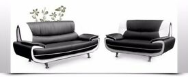 BLACK/RED OR GREY/WHITE -- BRAND NEW CAROL FAUX LEATHER 3 + 2 SEATER SOFA SET AVAILABLE FOR SAME DAY