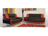 High Quality Leather 3 and 2 Seater Sofa Suite in Black White, Red- Brandnew
