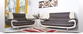 CHEAPEST PRICE EVER- NEW CAROL LEATHER 3+2 SEATER SOFA IN BLACK AND RED / GREY AND WHITE COLOR