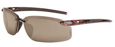 Crossfire ES5 Safety Glasses Crystal Brown Frame HD Brown Flash Mirror Lens