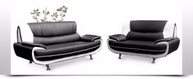 AMAZING OFFER! 70% OFF** BRAND NEW BLACK AND RED 3 AND 2 SEATER CAROL LEATHER SOFA 3 +2 SEATER SOFA