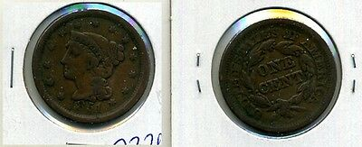 1851 BRAIDED HAIR LARGE CENT F VF 7326E