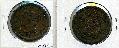 1851 BRAIDED HAIR LARGE CENT F VF 7326E
