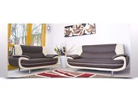 BRAND NEW BEAUTIFUL DESIGN CAROL 3+2 SEATER LEATHER SOFA - IN BLACK RED WHITE AND BROWN COLOR