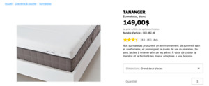 Surmatelas IKEA, grand deux places - TANANGER,