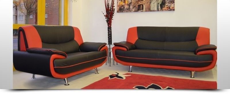 BRAND NEW HIGH QUALITY PU LEATHER 3+2 SEATER SOFA SETTEE IN BLACK/RED