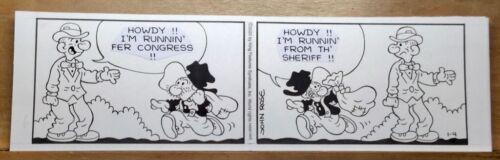 Original Snuffy Smith Daily Comic Strip Art - Runnin
