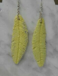 """Feather "" & *Fish"" Earrings hand sculpted Polymer Clay"