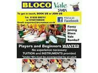 Wanted! New recruits for Bloco Vale Samba Drumming Group