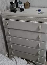 White set of painted draws