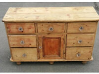 Victorian pine dressing chest, 7 drawers one cupboard, stripped, original glass knobs.