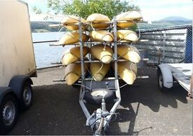 Kayaks, trailer and paddles