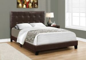 BED - QUEEN SIZE / DARK BROWN LEATHER-LOOK FREE DELIVERY