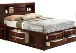 Queen bed with a lot of storage Cambridge Kitchener Area image 1