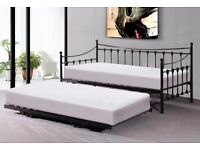 Versailles French Metal Daybed with Guest Trundle - black