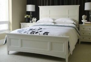 Urban Barn white queen size bed frame for sale