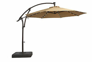 Hampton Bay 11 Ft. Offset Patio Umbrella with Solar LED Lights