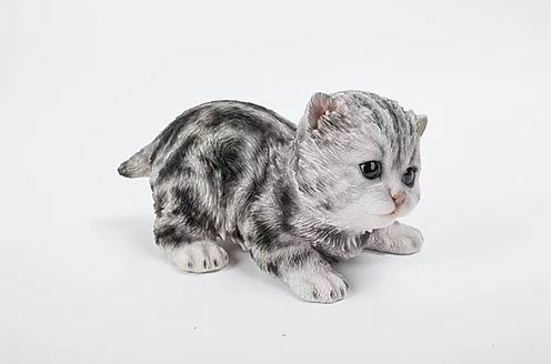 "7.5"" GREY CAT FIGURINE  STATUE LIFELIKE COLLECTIBLE ANIMAL HOME GARDEN DECOR"