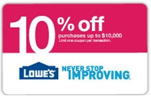Lowes 10 Off Printable Coupon