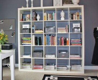 two white ikea expedit kallax 5 x 5 shelving unit book case with drona box inserts in. Black Bedroom Furniture Sets. Home Design Ideas