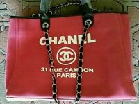 CHANEL PINK CANVAS BAG.