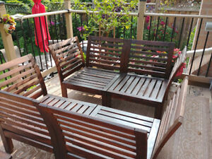 Two Ikea APPLARO Outdoor Sofas with New Black Cushions