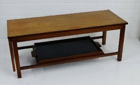 Mid century coffee table with drop down leaf and serving tray. 1950s / 1960s vintage / retro