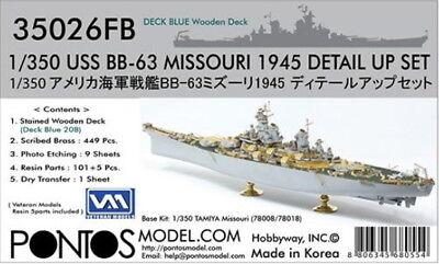 Pontos Models 1/350 BB-63 Detail w/20B Blue Wooden Deck for Tamiya 78008/78018