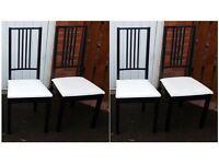 4 Ikea Black & White Borje Chairs FREE DELIVERY (03034)