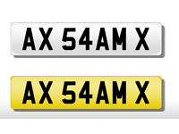SAM number plate on retention ready to put on a vehicle