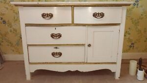 White dresser with 4 drawers and 1 cupboard for sale