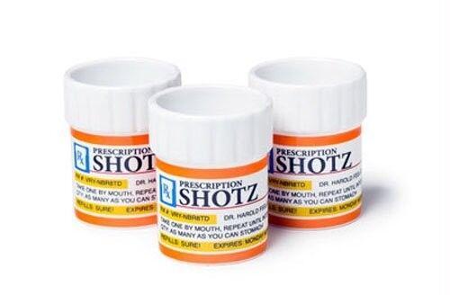 Prescription Pill Bottle Shaped Shot Glass Set, 3-Pack