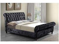 💗💥💗BLACK MINK & SILVER💗💥💗NEW DOUBLE / KING DIAMOND CRUSHED VELVET SLEIGH BED & MEMORY MATTRESS