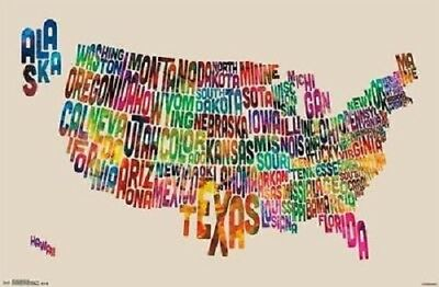 Usa Us Map Poster Text Style 34X22 New Free Shipping