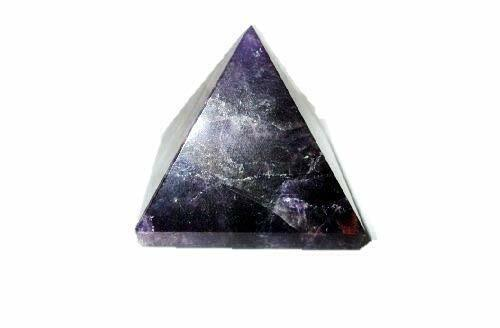 """Jet Natural Amethyst Pyramid Approx. 1.25"""" Earth Elements Reiki Symbol Pentacle"""