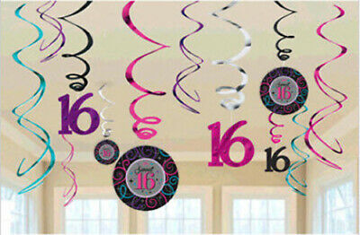 SWEET 16 sixteen Birthday party supplies HANGING foil SWIRL DECORATIONS 12pcs